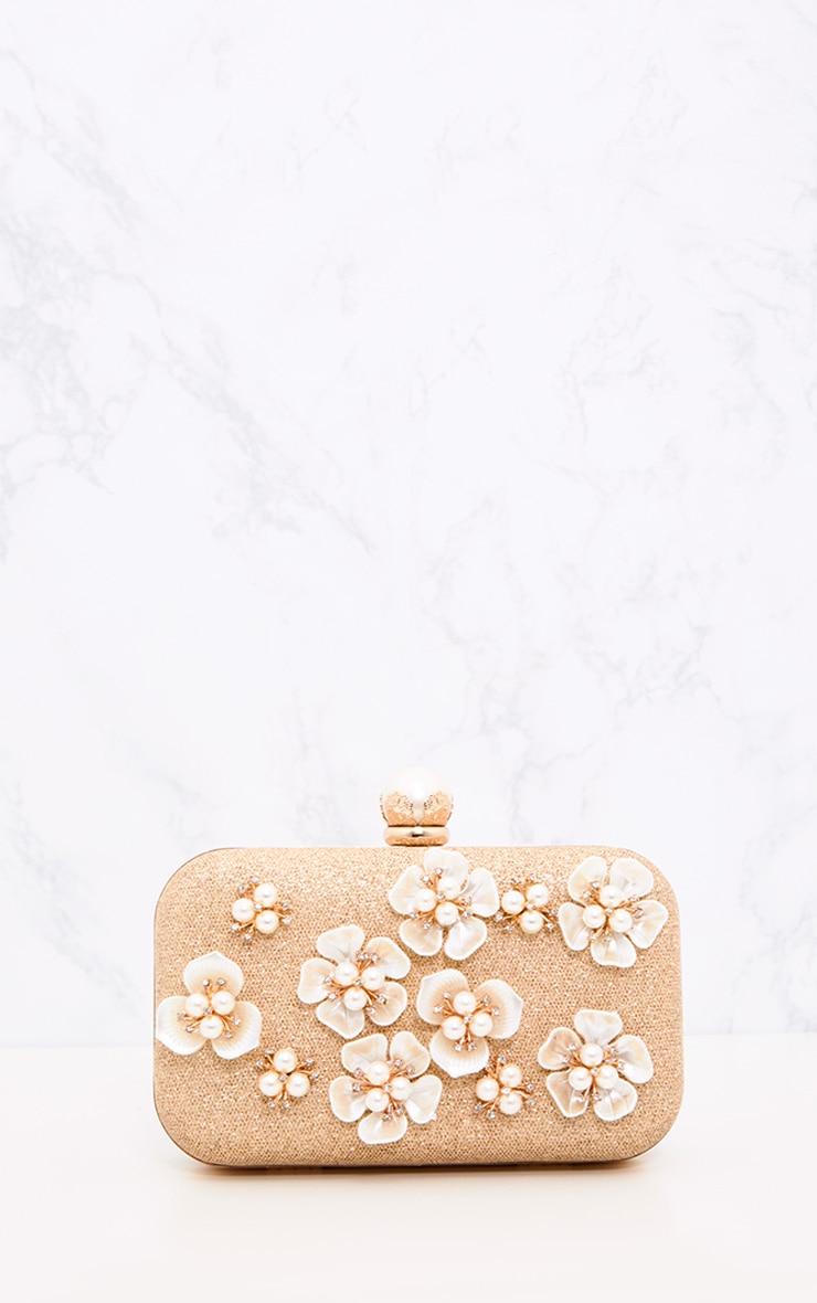 Gold 3D Flower Box Clutch 3