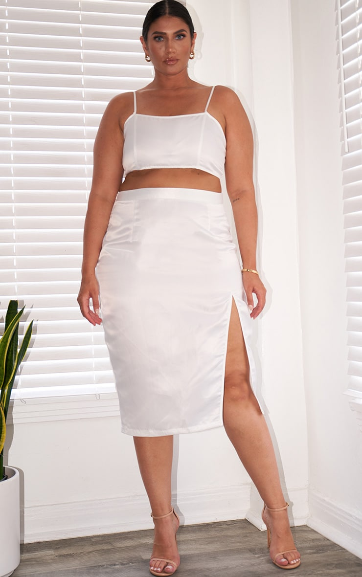Plus White Satin Split Detailed Midi Skirt 1