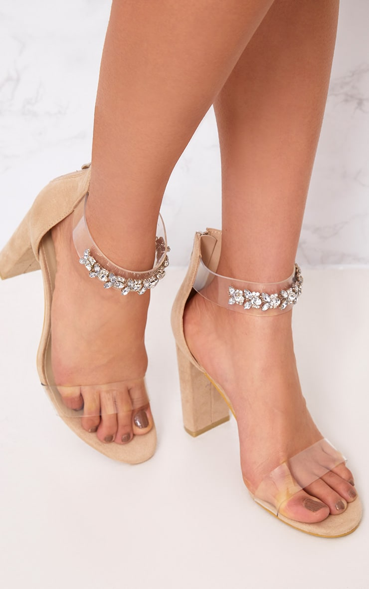 Kelle Nude Jewelled Strap Heeled Sandals 1