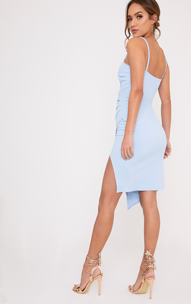 Lauriell Dusty Blue Wrap Front Crepe Midi Dress 2