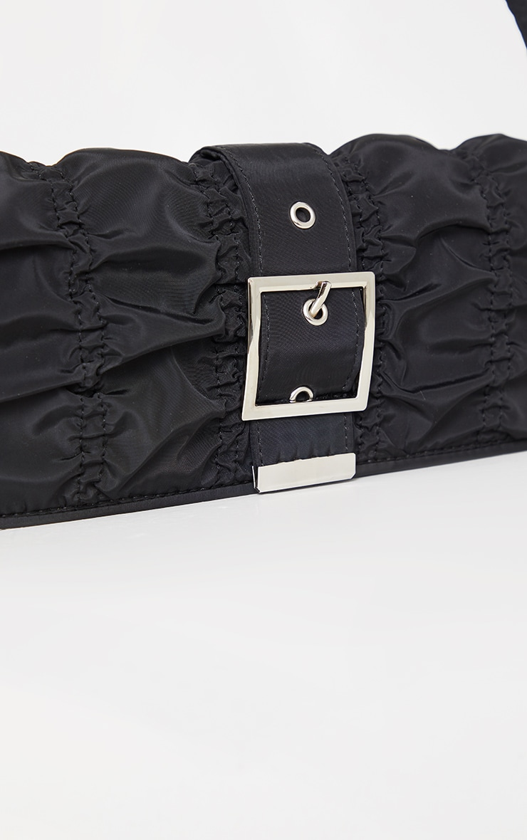 Black Ruched Silver Buckle Shoulder Bag 4