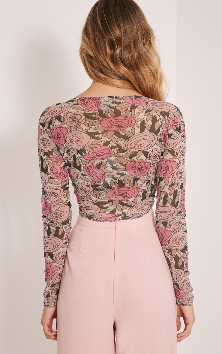 Denon Pink Floral Mesh Long Sleeve Crop Top 4