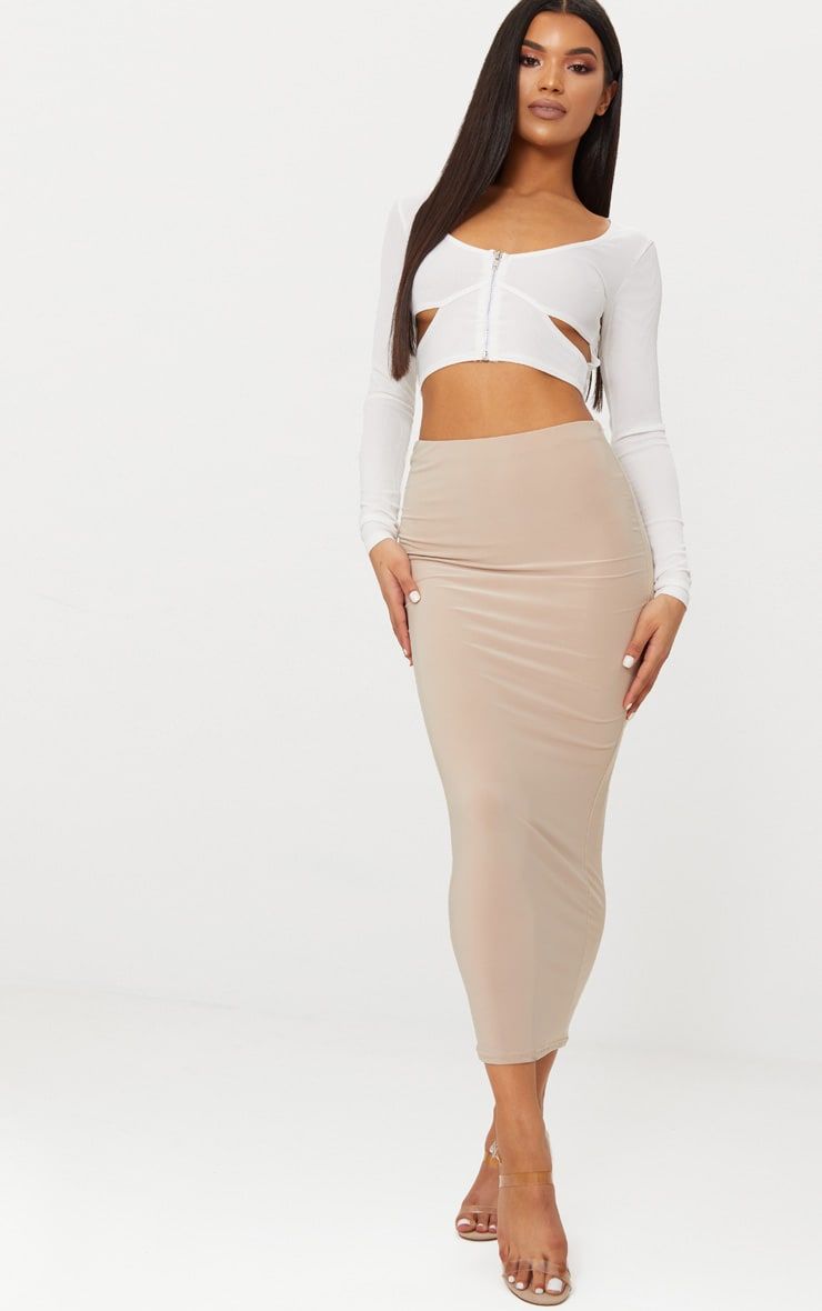 White Rib Zip Front Cut Out Long Sleeve Crop Top 3