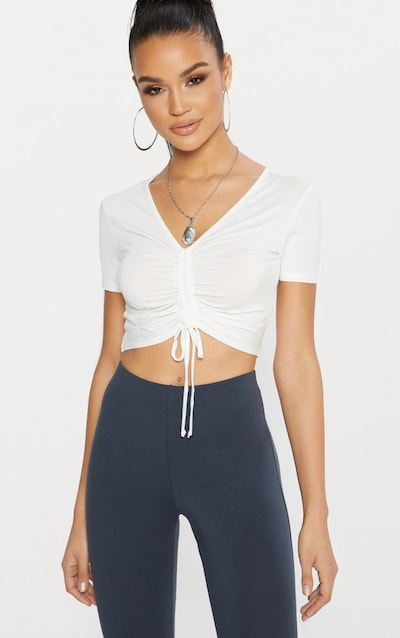 Cream Jersey Ruched Front Crop T Shirt