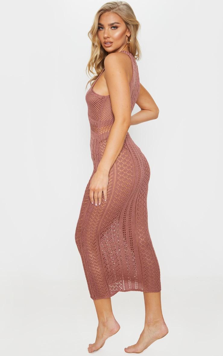 Mocha Cut Out Detail Crochet Knit Midi Dress 2