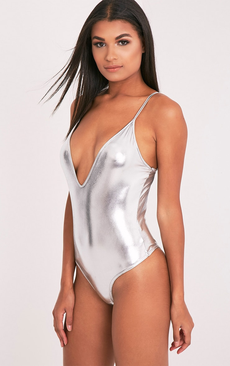 Loria Metallic Silver Sleeveless Plunge Thong Bodysuit 3