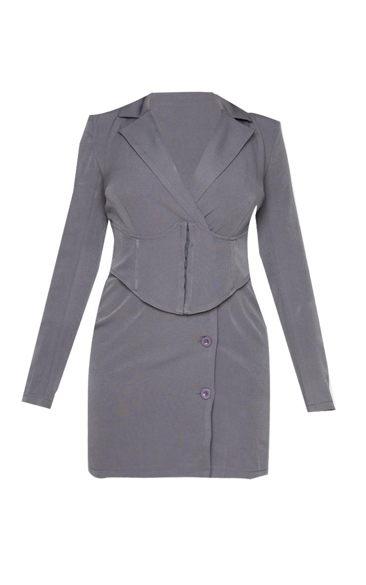 Charcoal Grey Tie Waist Corset Detail Blazer Dress 5