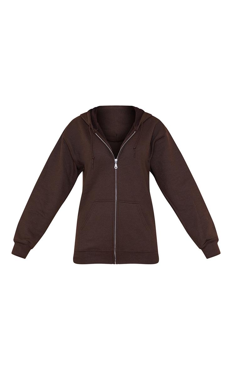 Brown Fleece Zip Hoodie 5