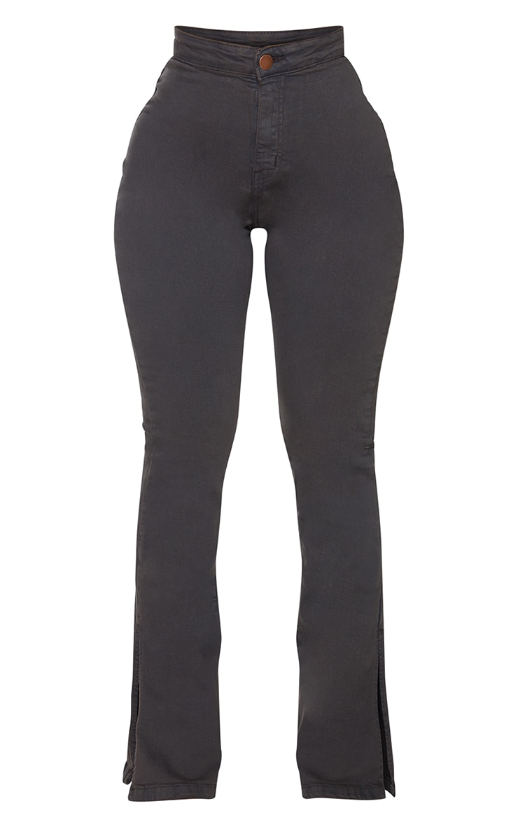 Shape Charcoal Split Hem Flared Jeans 5