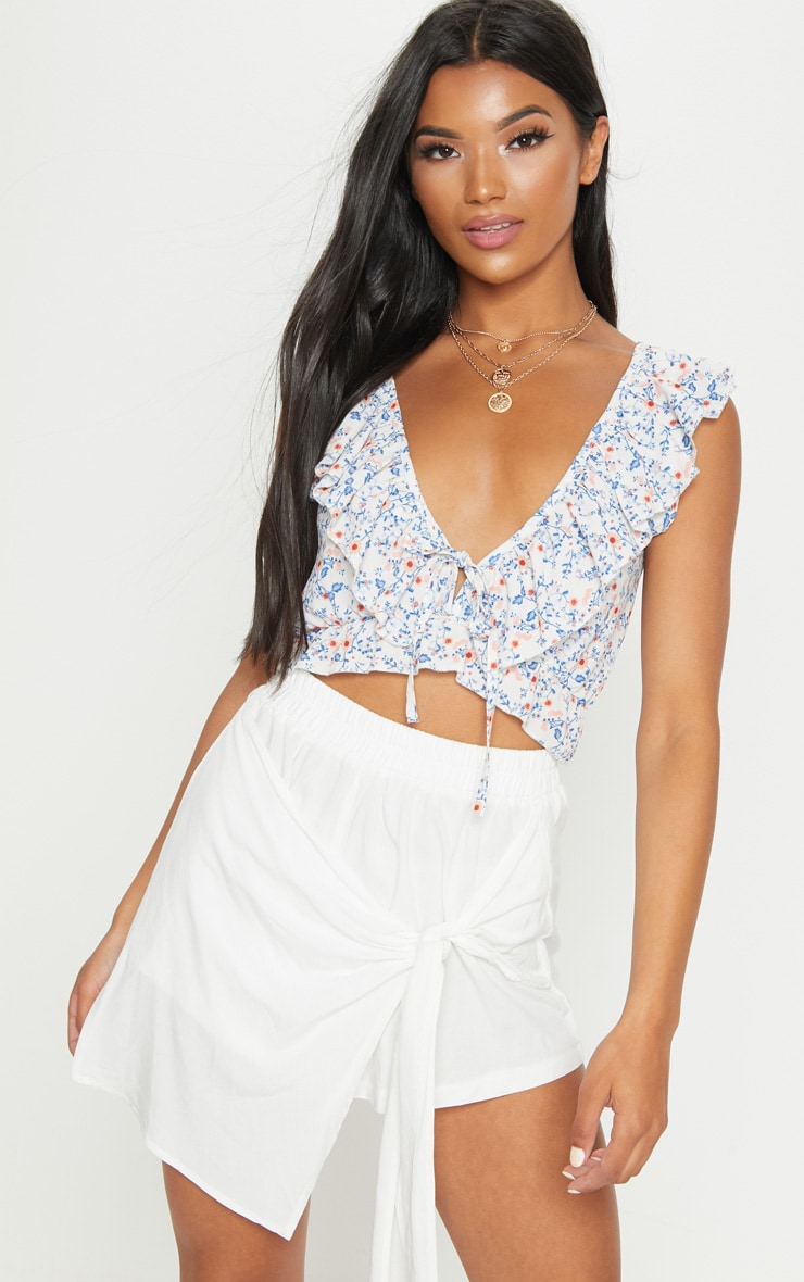 White Floral Printed Plunge Blouse 1