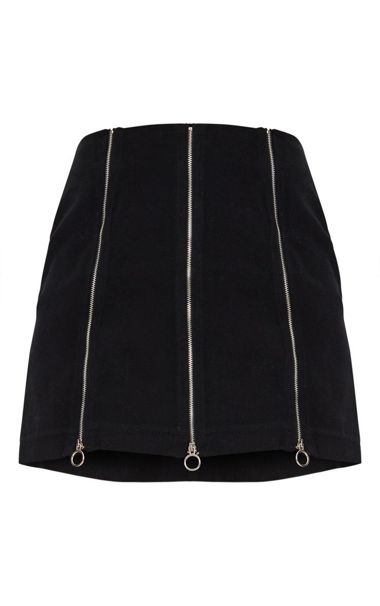 Black Zip Detail O-Ring Denim Skirt 3