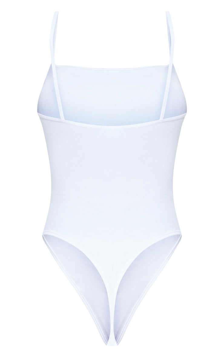 White Basic Square Neck Thong Bodysuit  4