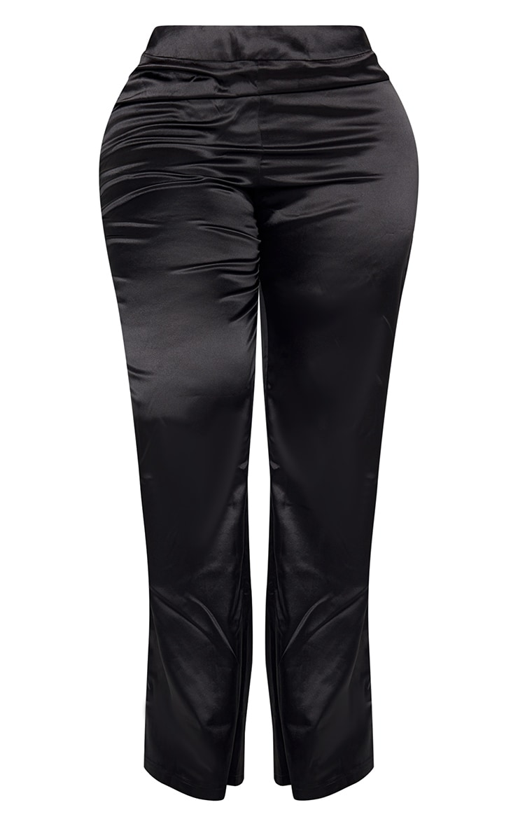 Plus Black Satin Wide Leg Fit Pants  5