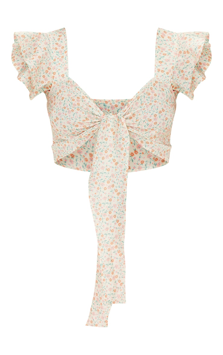 Cream Ditsy Floral Print Woven Frill Tie Front Bralet 5