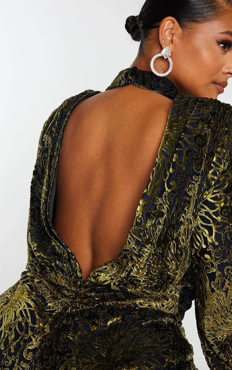 Plus Khaki Floral Velvet Backless Bodycon Dress 4