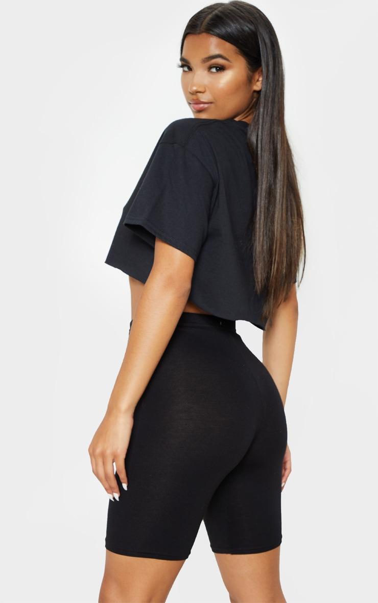PRETTYLITTLETHING Black & White Slogan 2 Pack Crop T Shirt 2