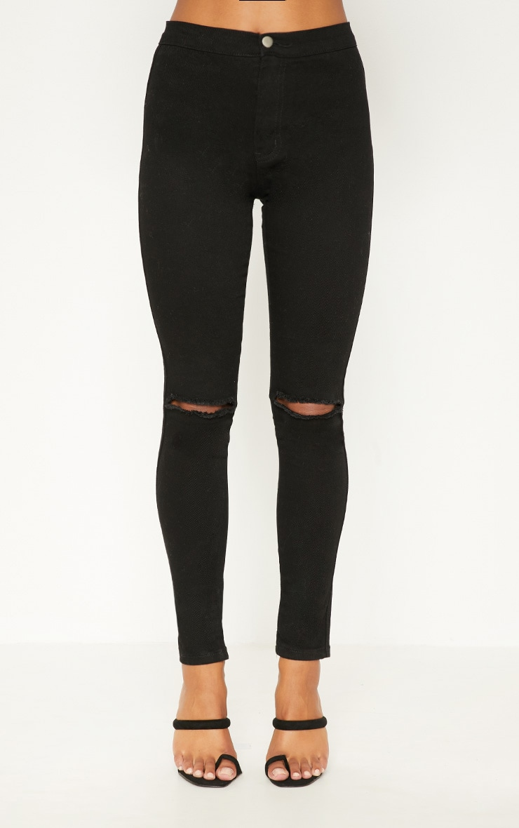 Black Knee Rip High Waisted Skinny Jean 6