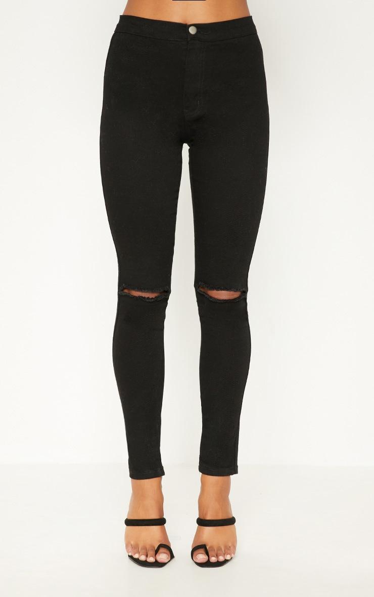 Jean skinny noir taille haute déchiré aux genoux délavage moyen   6