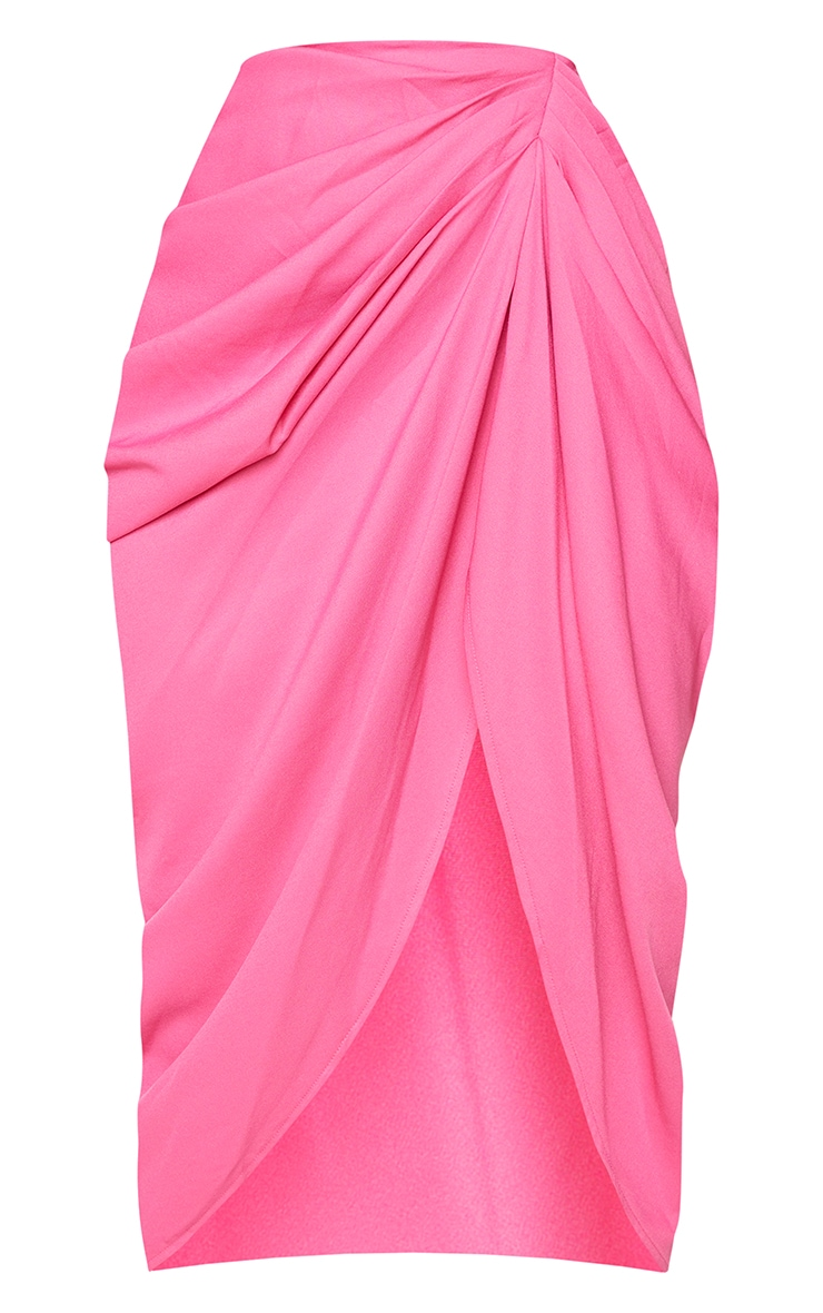 Hot Pink Ruched Side Midi Skirt 5
