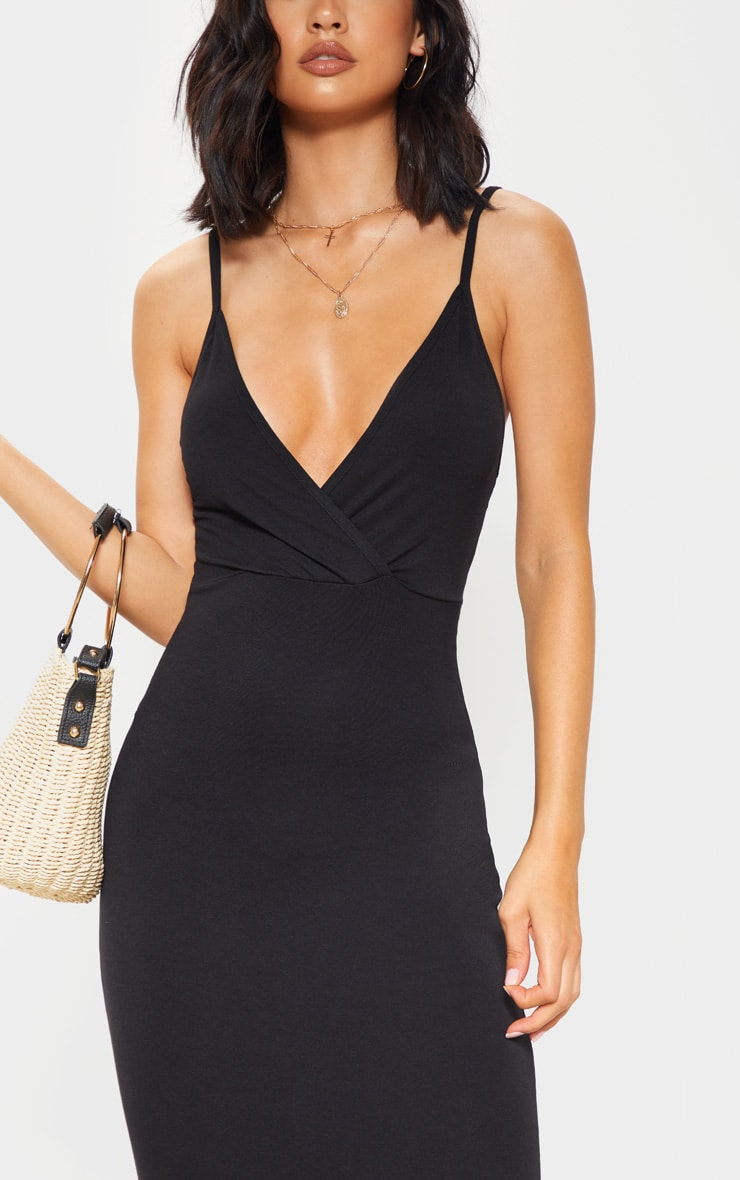 Black Jersey Plunge Strappy Maxi Dress 5