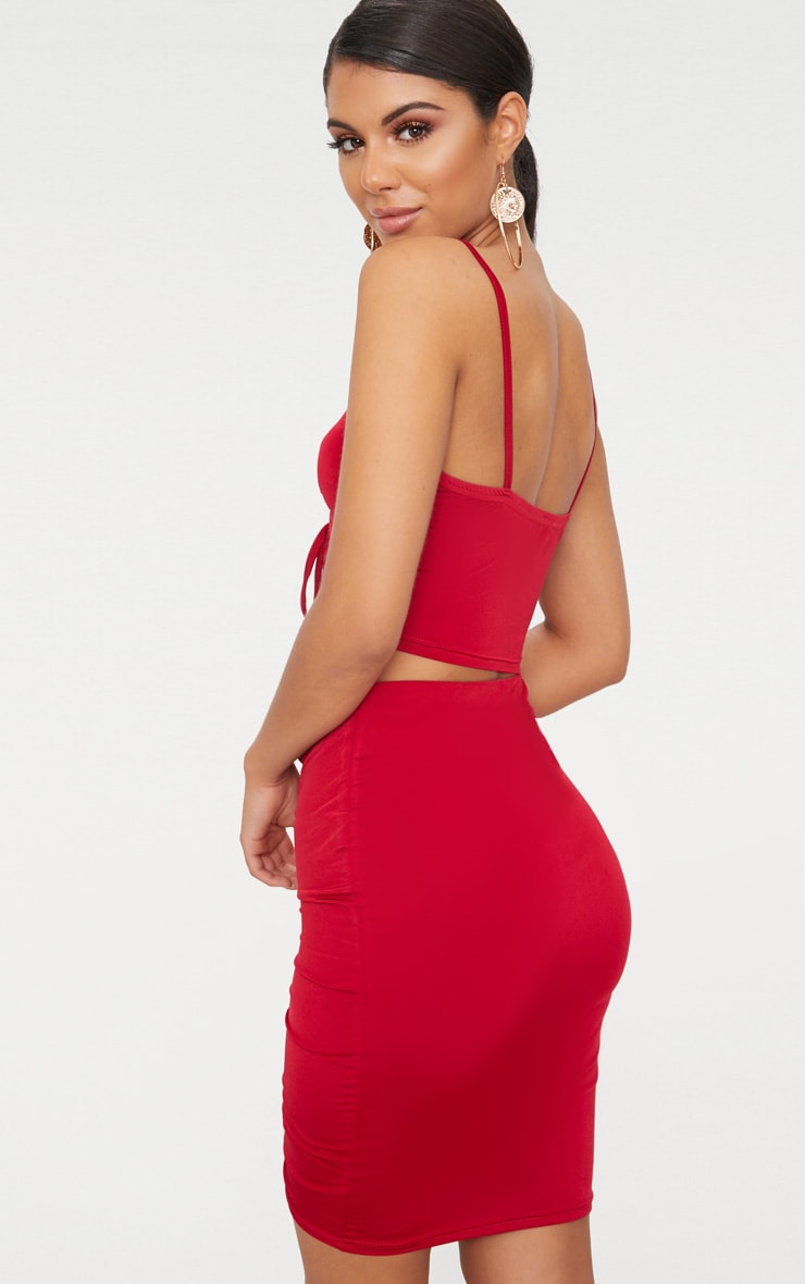 Red Slinky Ruched Front Bralet  2