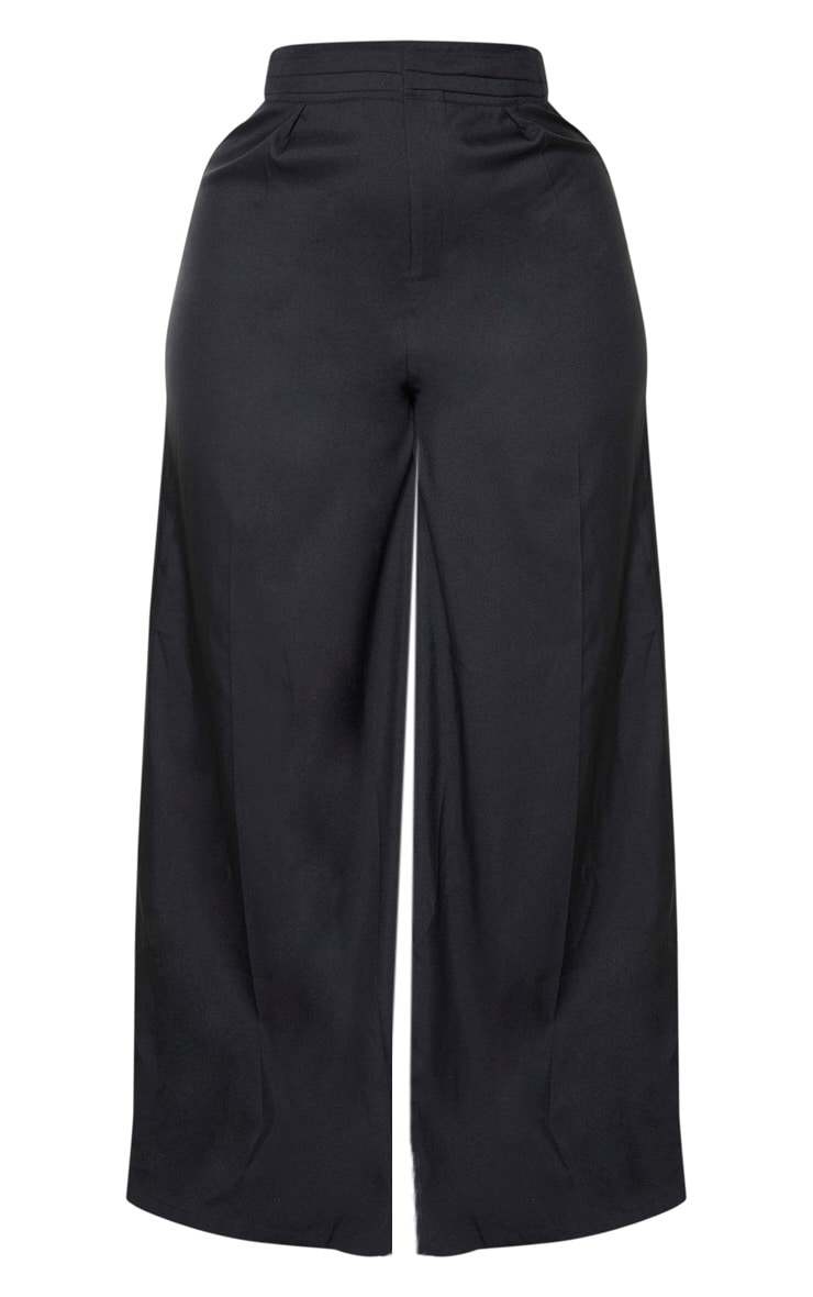 Plus Black Woven Pleat Detail Waistband Wide Leg Trouser 3