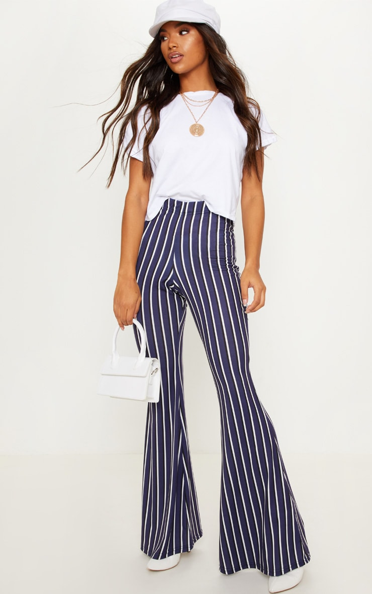 choose newest hot-selling discount beautiful and charming Navy Jersey Vertical Stripe Flared Pants