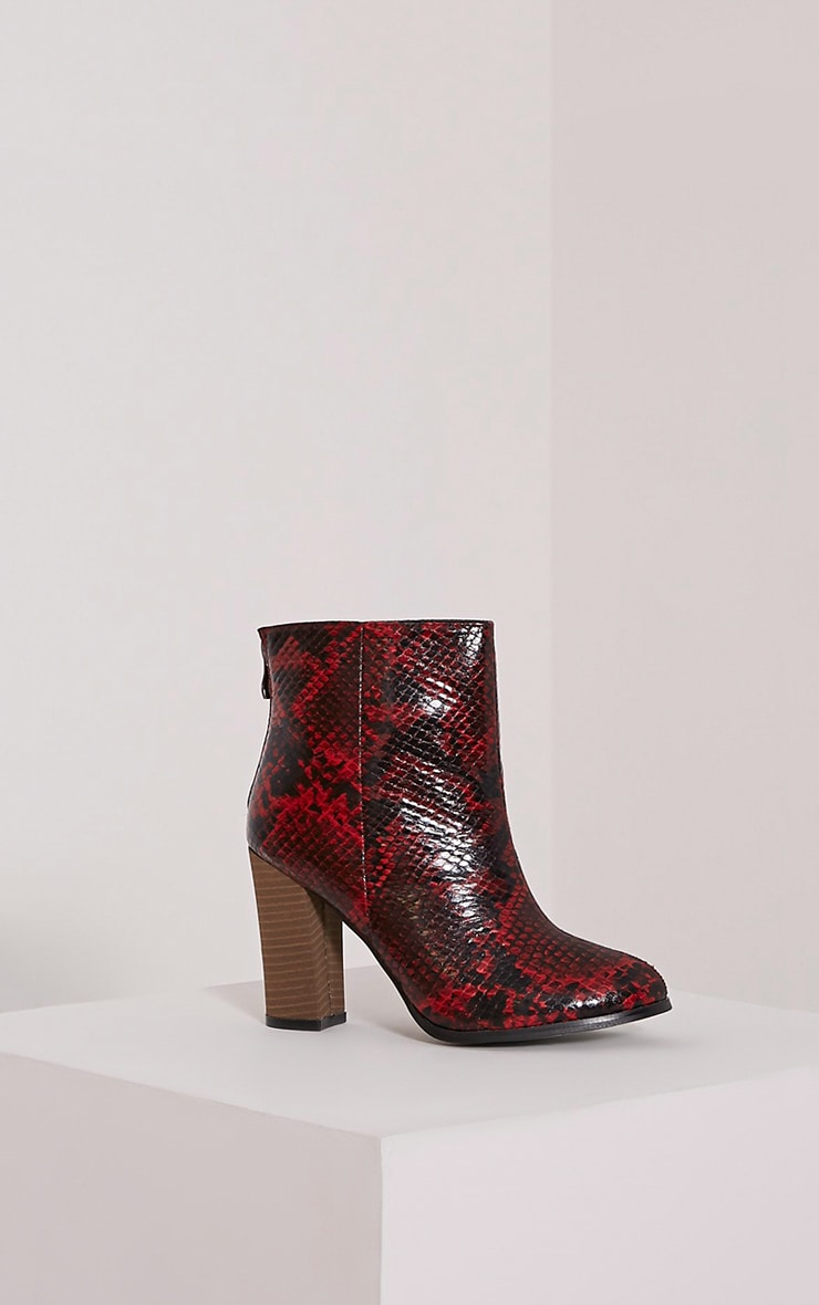 Becci Red Snakeprint Ankle Boots 3