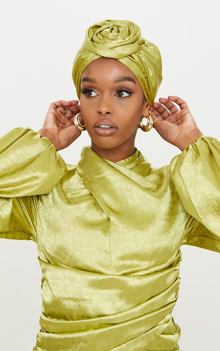 Sage Green Satin Jacquard Knot Front Head Scarf 1