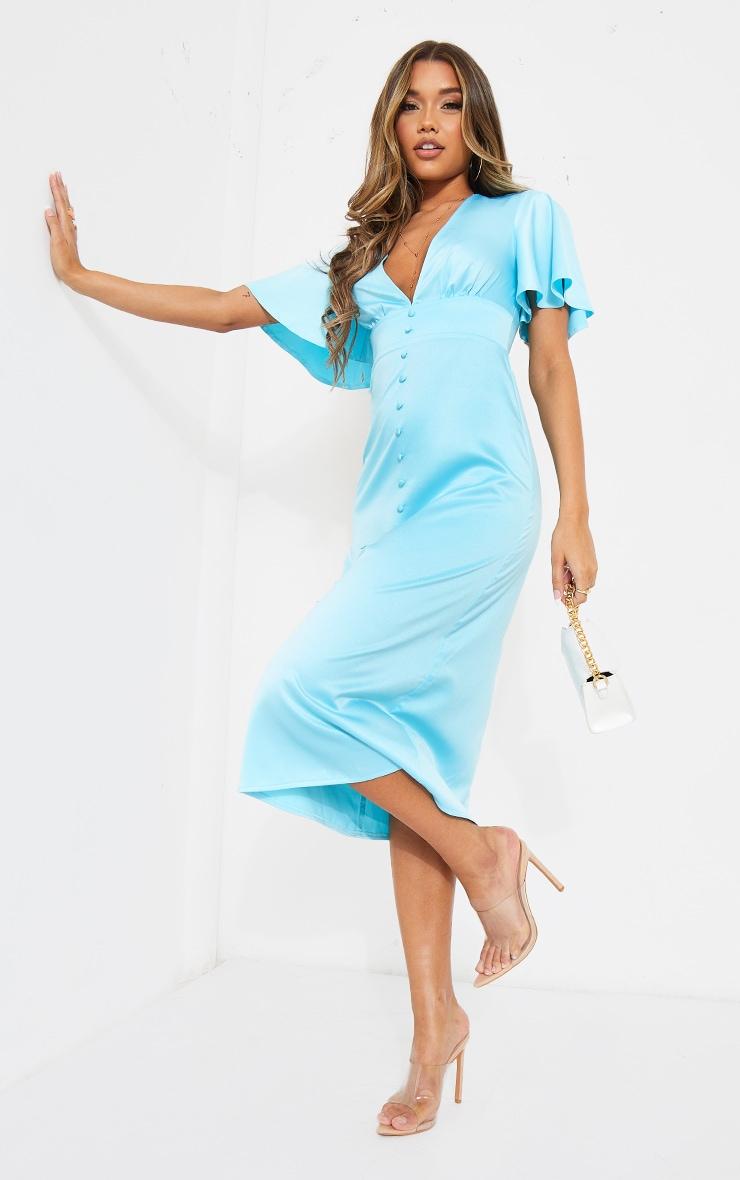 Blue Satin Plunge Button Detail Midi Dress 1