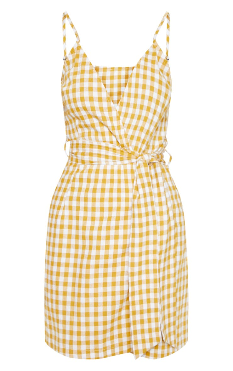 Mustard Check Print Wrap Strappy Shift Dress 3