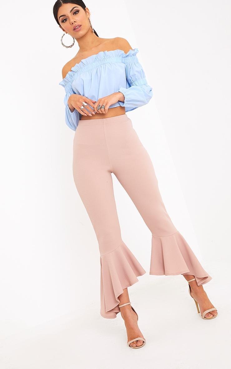 Lourdes Nude Asymmetric Flare Hem Pants 1