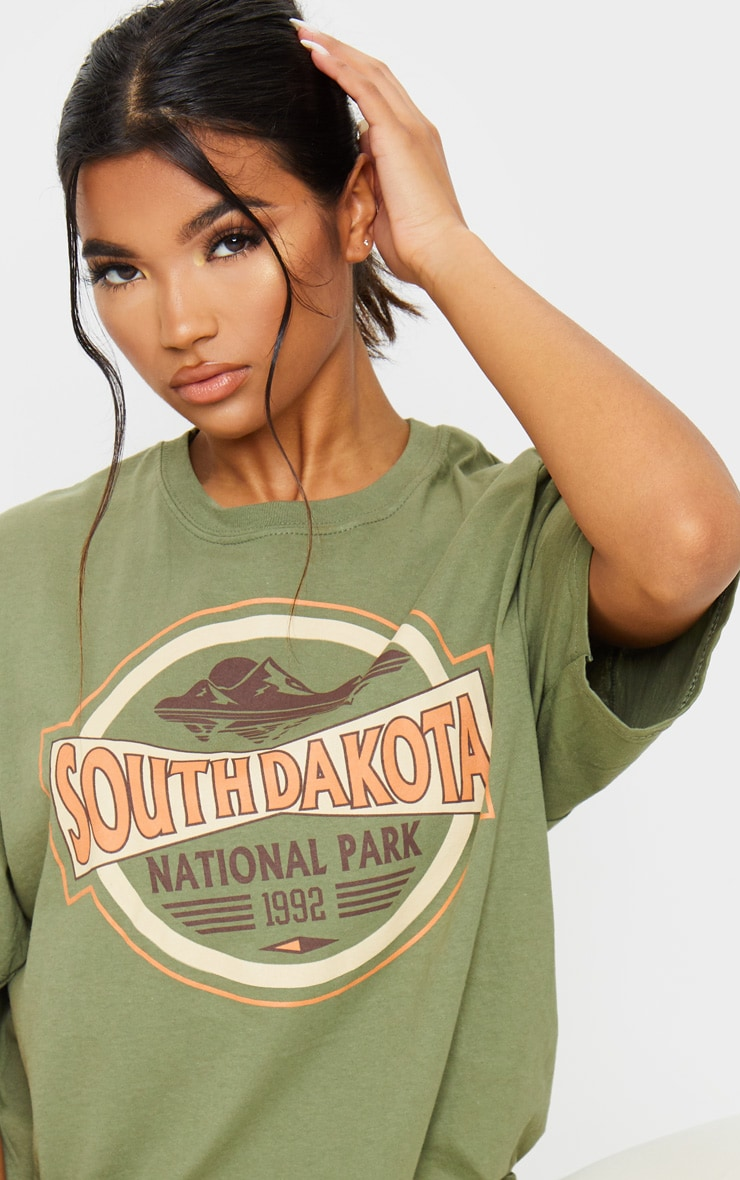 Khaki South Dakota Printed T Shirt 4