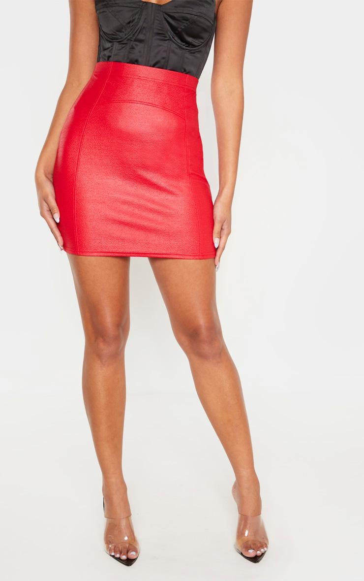 Red Textured Seam Detail Mini Skirt  2