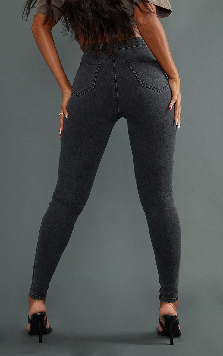PRETTYLITTLETHING Washed Black Disco Skinny Jean 3