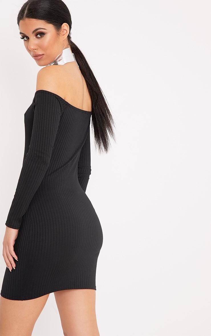 Fionah Black Ribbed Bardot Bodycon Dress 2