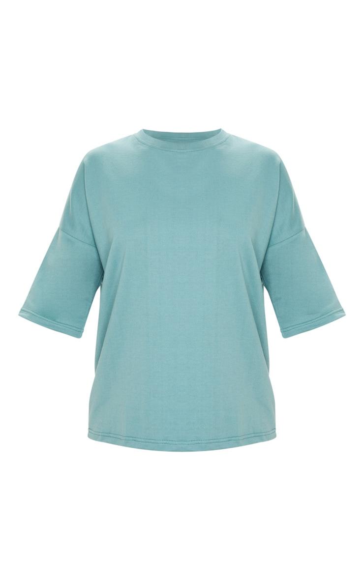T-shirt sweat oversize turquoise cendré 3
