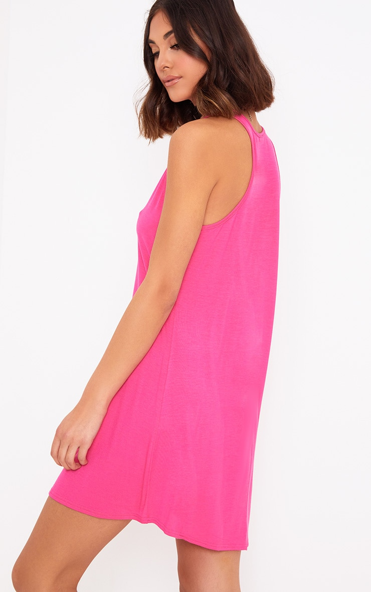 Fuchsia Jersey V Plunge Sleeveless Shift Dress  2