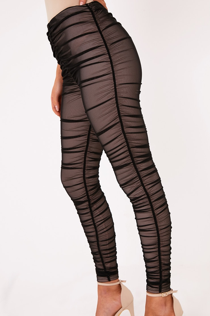 Piera Black Ruched Mesh Pants 6