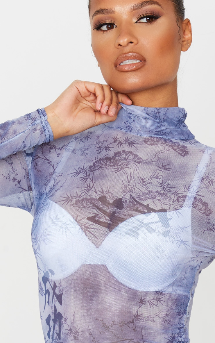 Blue Oriental Print Mesh High Neck Long Sleeve Bodysuit 5