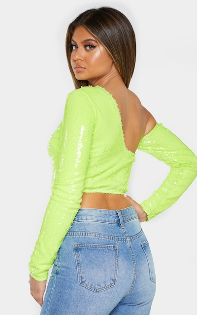 Neon Lime Sequin One Shoulder Crop Top