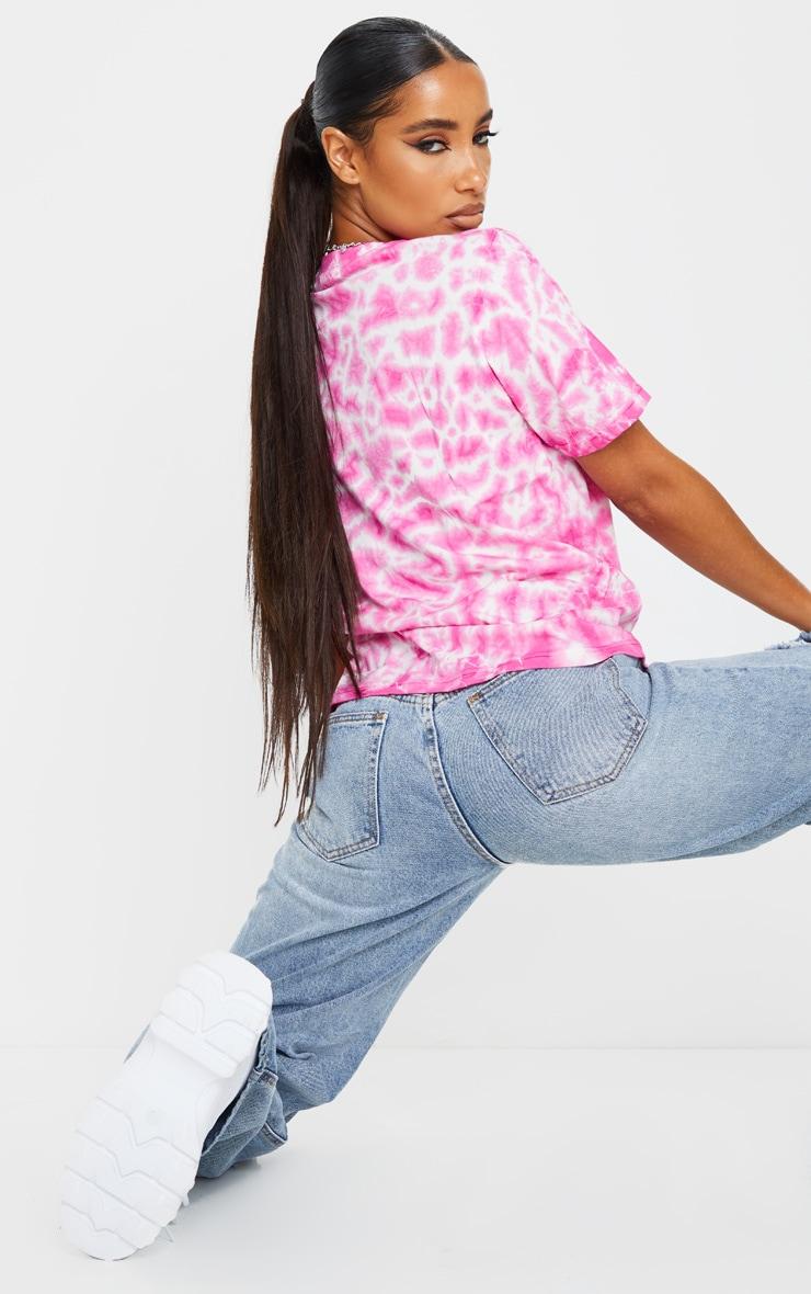 Fuchsia Tie Dye Boyfriend Fit T Shirt 2