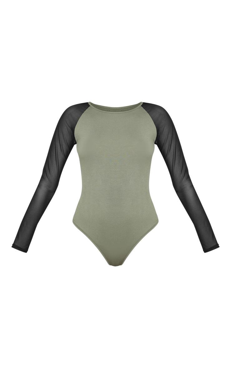 Khaki Crew Neck Mesh Long Sleeve Bodysuit 3