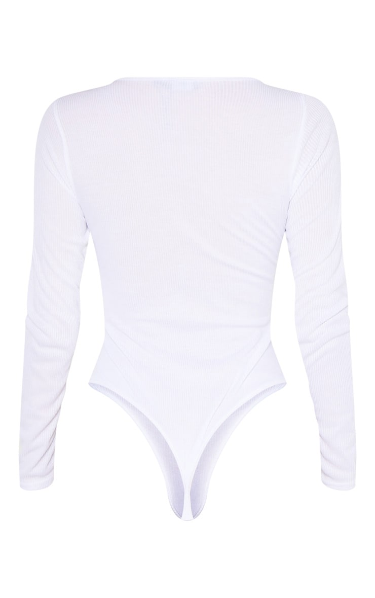 Tall White Ribbed Scoop Neck Long Sleeve Bodysuit 5