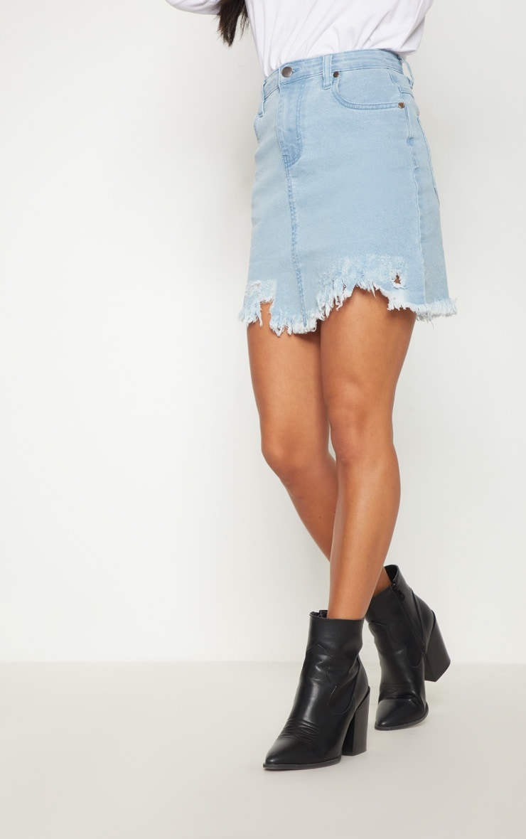 Petite Light Wash Distressed Hem Denim Skirt 2