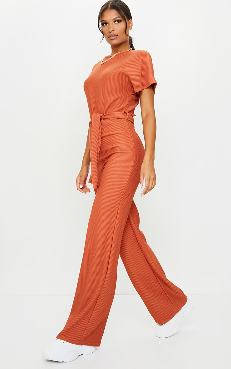 Rust Thick Rib Tie Waist Wide Leg Jumpsuit 1