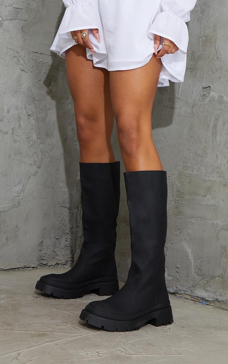 Black Knee High Rubberised Boots 1