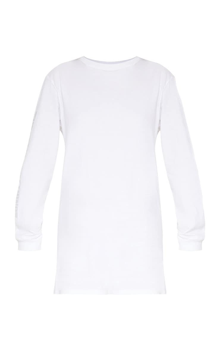 PRETTYLITTLETHING White Oversized Long Sleeve T Shirt Dress 3