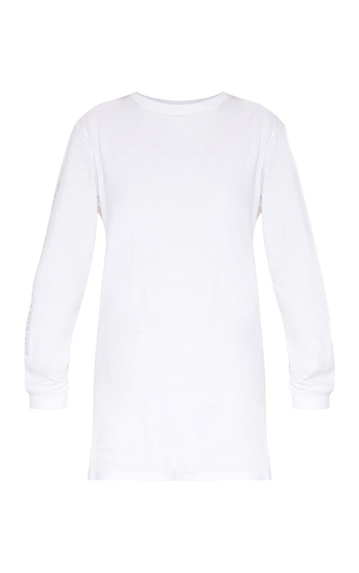 PRETTYLITTLETHING White Oversized Long Sleeve T Shirt Dress 4