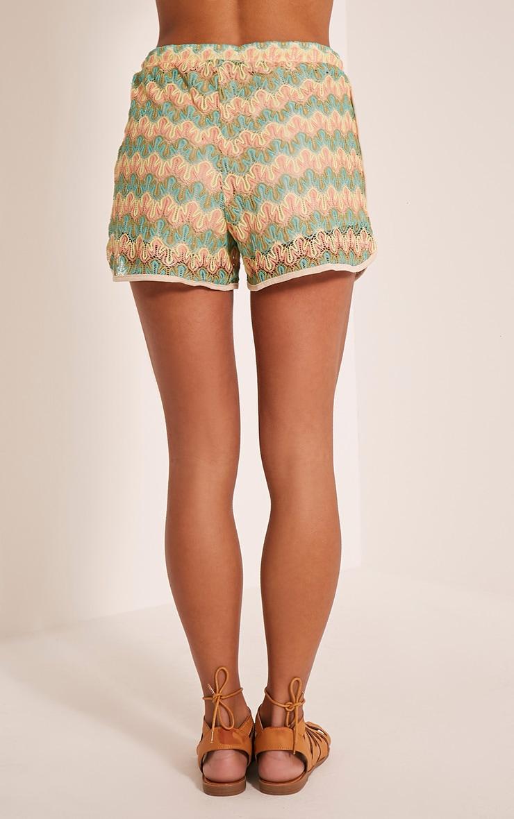 Jillian Neon Turquoise Crochet Shorts 5